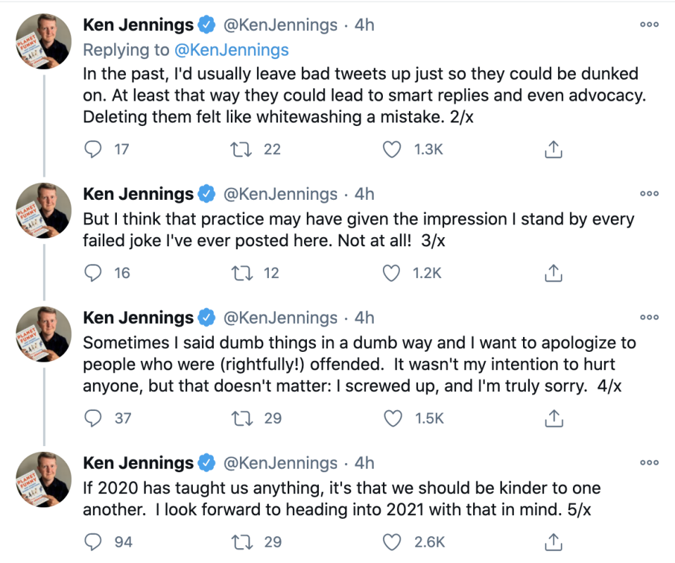 Ken Jennings posted a series of tweets apologizing for anyone offending him on social media.  (Image: Twitter)