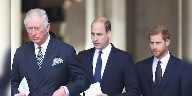 Prince Harry (right) has stepped down as a royal.  His father, Prince Charles (left), and brother Prince William (center), will be king in the future.  (Photo by Chris Jackson / Getty Images)