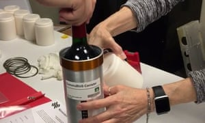 Researchers from the company prepared bottles of French red wine to be transported to the International Space Station in November 2019