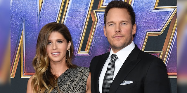 Katherine Schwarzenegger (left) shared her daughter's first photo with Chris Pratt (right).  (VALERIE MACON / AFP via Getty Images)