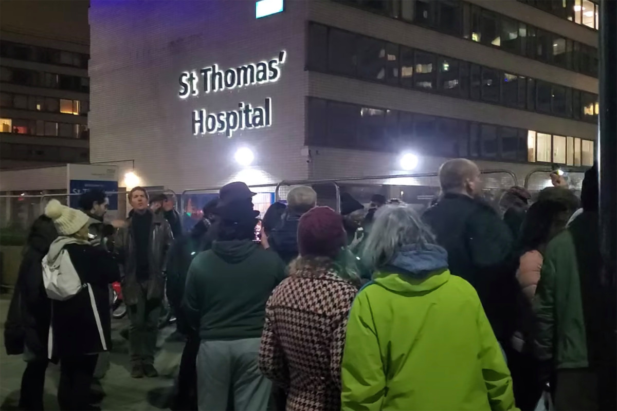 """The doctor films crowds chanting """"COVID is a hoax"""" outside the hospital"""