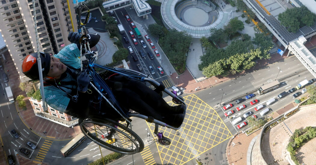 The effort to climb a wheelchair skyscraper captivates Hong Kong